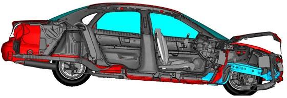 Čelní náraz osobního automobilu Abaqus/Explicit