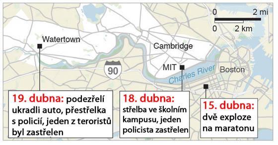 Kde se odehrávaly nejdůležitější události po bombovém útoku v Bostonu.
