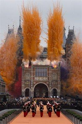 Ohňostroj při otevírání amsterodamského Rijksmusea