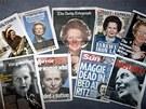 Zpráva o smrti Margaret Thatcherové na titulních stranách britských listů (9.
