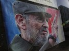 Portrét vůdce kubánské revoluce Fidela Castra v Havaně