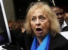 Příznivci Margaret Thatcherové v centru Londýna (17. dubna 2013)