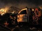 Následky výbuchu v továrně na hnojiva v texaském městečku West (18. dubna 2013)