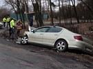 Nehoda tří osobních automobilů na silnici z Kladna do Buštěhradu.