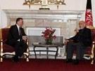 Premiéra Petra Nečase přijal afghánský prezident Hámid Karzáí (13. dubna 2013).