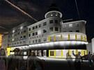 Vizualizace budouc� podoby Hotelu Palace v centru Ostravy coby studentsk�ho