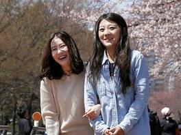 Dívky procházejí parkem v Soulu. (14. dubna 2013)