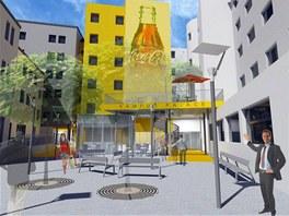Vizualizace dvora kampusu, který má vzniknout v objektech bývalého Hotelu