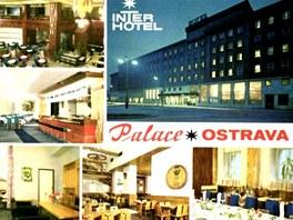 Pohlednice Hotel Palace v centru Ostravy z 80. let minulého století.