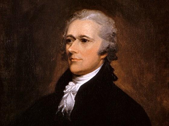 Alexander Hamilton (1755–1804). Americký voják, právník, ekonom, jeden z Otců