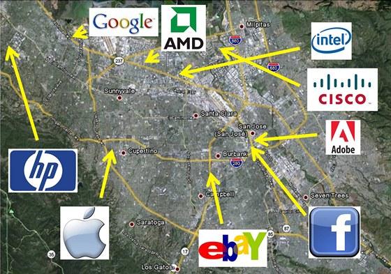Velké firmy v americkém Silicon Valley. Ilustrační snímek.