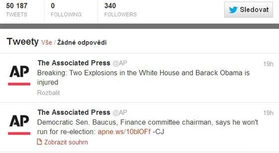 """""""Blesková zpráva: dvě exploze v Bílém domě a Barack Obama je zraněn."""" Twitter"""