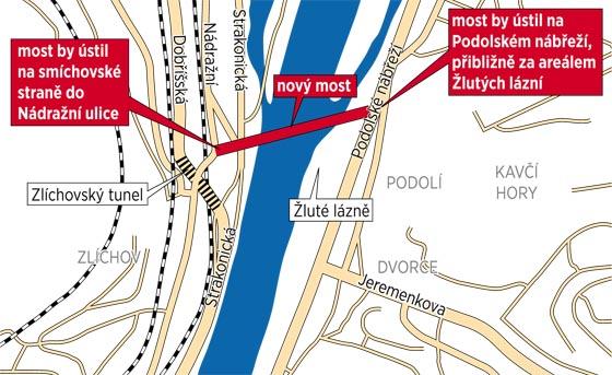 Plánovaný most mezi Zlíchovem a Dvorci by měl pomoci vylepšit tramvajovou