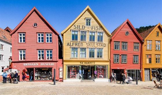 Nejfotografovanější námět z Bergenu - dřevěné domky v Bryggen