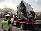 Nehoda dvou kamionů a dodávky na Pražském okruhu.