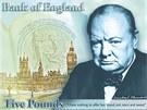 """Návrh nové pětilibrové bankovky s Winstonem Churchillem a jeho slavným výrokem """"Nemohu slíbit nic než krev, dřinu, slzy a pot"""""""