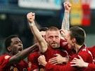 Fotbalisté AC Sparta slaví vítězství v lize. (15. května 2010)