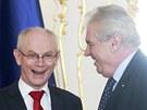 Prezident Miloš Zeman se na Pražském hradě stekal s předsedou Evropské rady