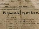 V rodném domě Jana Kubiše v Dolních Vilémovicích se nalezlo i propouštěcí...