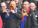 Fandov� Sparty Praha p�i pochodu Ostravou z Hlavn�ho n�dra�� na stadion Bazaly...