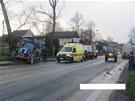 Traktor se s n�kladn�m vozidlem st�etl v pond�l� odpoledne, nehoda si vy��dala