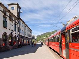 Nádraží ve Vossu, tady se přestupuje z vlaku do autobusu.