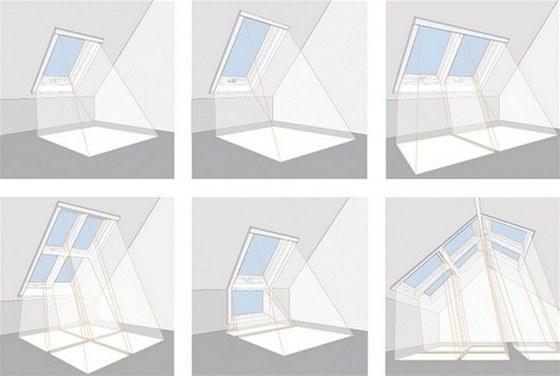Příklady umístění střešních oken