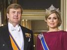 Nový nizozemský král Willem-Alexander a jeho žena, princezna Máxima na