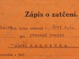 Zápis o zatčení Karla Zahrádky