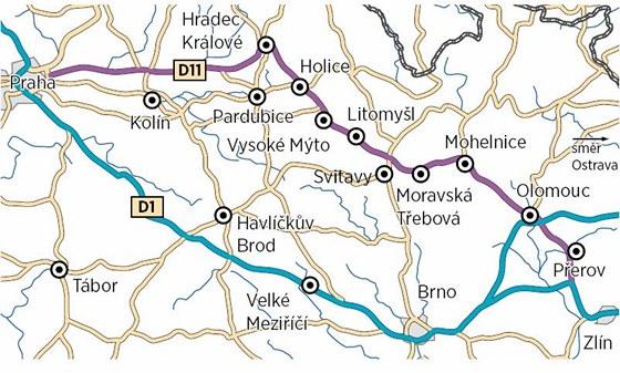 Objízdná trasa při modernizaci D1 vede v Olomouckém kraji ve směru na Prahu
