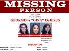 Popis pohřešované Georginy DeJesusové na letáku FBI