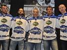 Posily hokejové Komety Brno: (zleva) Marek Čiliak, Jan Hanzlík, David Nosek,