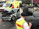 Nehoda převozové sanitky a BMW  Na Veselí na pražské Pankráci.