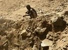 Těžba zlata v dole Wad Bushara nedaleko súdánského Abu Delelq. (27. dubna 2013)