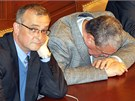 Ministr financ� Miroslav Kalousek a ministr zahrani�� Karel Schwarzenberg p�i