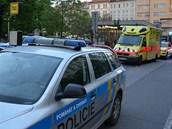 Policejní zásah u metra Náměstí Jiřího  z Poděbrad (8. 5. 2013)