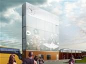 Vizualizace budoucí podoby prostranství před výpravní budovou ostravského