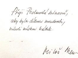 Zápis prezidenta Miloše Zemana do pamětní knihy Sněmovny při návštěvě v úterý