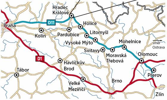 Objízdná trasa kvůli opravám dálnice D1 vede po silnici R35 a dálnici D11.
