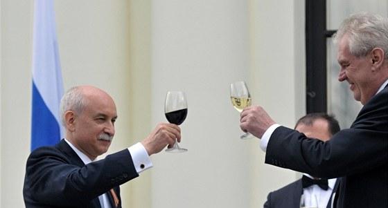Prezident Miloš Zeman se 9. května zúčastnil slavnostní recepce na ruském