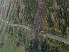 Sesuv půdy na rakouské silnici Felbertauernstrasse (14. května 2013)