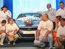 Příparava na slavnostní focení u miliontého vozu z továrny Hyundai ve slezských