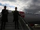 První fotografie po otevření dveří nového letadla po příletu na Letiště Václava