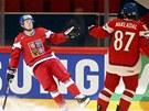 Petr Koukal (vlevo) se raduje ze svého gólu v duelu se Slovenskem se spoluhráčem Jakubem Nakládelem.