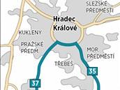 Objížďka kvůli opravám dálnice D1 vede přes hradecký  okruh.