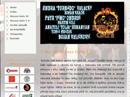 Screenshot str�nek turnaje Heroes Gate, kter� podpo�il i pra�sk� magistr�t a