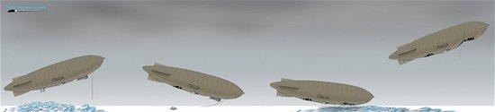 Průběh havárie vzducholodi Italia. Pro zvětšení klikněte na obrázek.