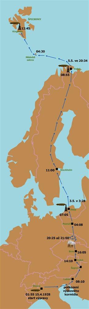 První fáze letu vzducholodi na severní pól v květnu 1928.