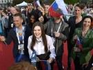 Fanoušci ruské zpěvačky Diny Garipovové v Malmö (17. května 2013)