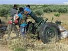 Dělo syrských povstalců nasazené v bojích o město Kusajr (20. května 2013)